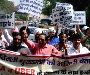 Drivers of app based taxis' demonstrate