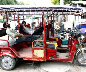 Idle E-rickshaws
