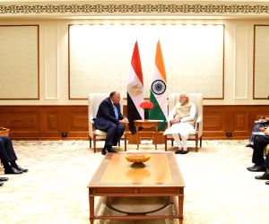 Egyptian Foreign Minister Sameh Shoukry calls on Prime Minister Narendra Modi in New Delhi on March 23, 2018.