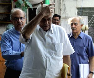 Eminent lawyer Prashant Bhushan, economist and journalist Arun Shourie and former BJP leader Yashwant Sinha. (Photo: IANS)