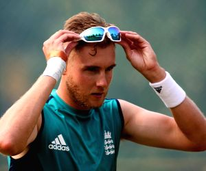 England cricketer Stuart Broad during a practice session in Visakhapatnam on Nov 16, 2016.
