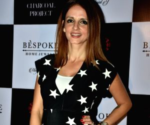 Entrepreneur Sussanne Khan, former wife of actor Hrithik Roshan at a store launch in Mumbai on April 13, 2018 .
