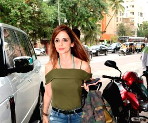 Entrepreneur Sussanne Khan, former wife of actor Hrithik Roshan seen at a salon in Juhu, Mumbai on June 12, 2018.