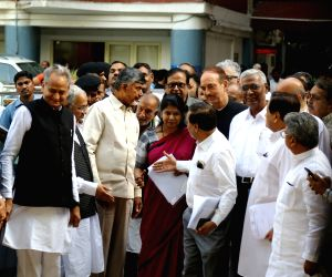 ers of opposition parties Ashok Gehlot (Congress), N. Chandrababu Naidu (TDP), Kanimozhi (DMK), Satish Mishra (BSP), Ghulam Nabi Azad, Ahmed Patel (Congress) and D. Raja (CPI) come out ...