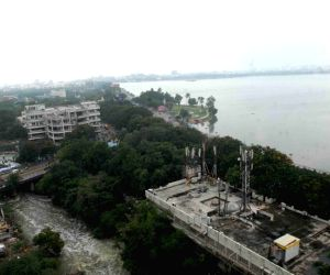 Excess water released from the Hussain Sagar Lake accompanied by heavy rains leave Hyderabad inundated, on Sep 25, 2019.