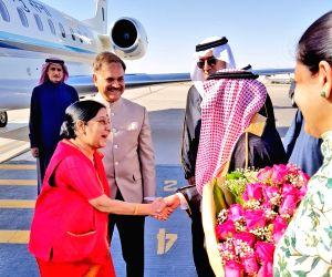 Sushma Swaraj arrives in Riyadh