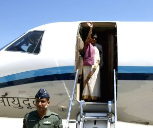 Sushma Swaraj departs for France