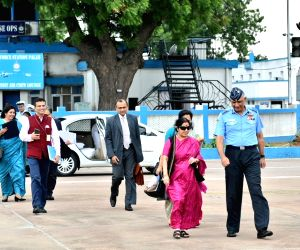 External Affairs Minister Sushma Swaraj departs for Manama, Bahrain for the 2nd India-Bahrain High Joint Commission with Bahrain's Foreign Minister Khalid bin Ahmed Al Khalifa; at Palam ...