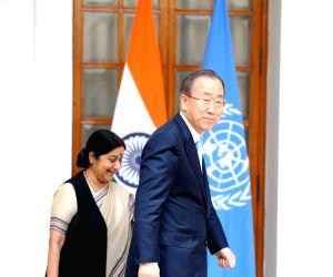 New Delhi:  Sushma Swaraj meets Ban Ki-Moon