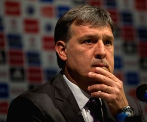 Gerardo Martino reacts during a press conference