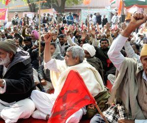 Farmers demonstrate against UPA Government at Jantar Mantar in New Delhi on Feb.18, 2014.