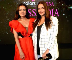 Fbb Colors Femina Miss India 2019 mentors Dia Mirza and Neha Dhupia at the red carpet of unveiling of the 30 state winners of fbb Colors Femina Miss India 2019 in Mumbai on May 27, 2019.