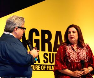 Film critic Rajeev Masand with producer Farah Khan during the inauguration of the 10th Jagran Film Festival (JFF) in New Delhi on July 18, 2019.