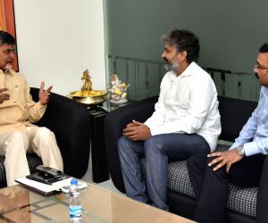 Vijayawada (Andhra Pradesh): S. S. Rajamouli meets N. Chandrababu Naidu
