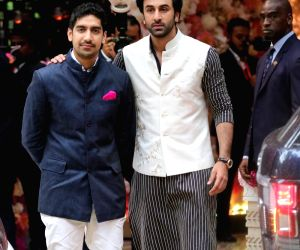 Filmmaker Ayan Mukherjee and actor Ranbir Kapoor during pre-engagement party of Akash Ambani and Shloka Mehta at Antilia in Mumbai on June 28, 2018.
