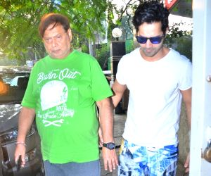 David Dhawan, Varun Dhawan seen at Juhu
