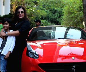 Filmmaker Farah Khan with her son Czar Kunder  during birthday celebrations of actress Shilpa Shetty's son Viaan in Mumbai on May 25, 2019.