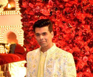 Filmmaker Karan Johar at the wedding ceremony of industrialist Mukesh Ambani's daughter Isha Ambani and Anand Piramal at Antilia in Mumbai on Dec 12, 2018.