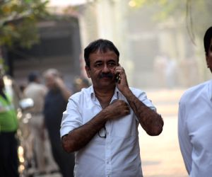 Filmmaker Rajkumar Hirani at the funeral of late actress Sridevi in Mumbai on Feb 28, 2018. Veteran actress Sridevi passed away following accidental drowning in a bathtub in her hotel room in ...