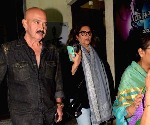Rakesh Roshan and  Pinky Roshan seen at a cinema theater