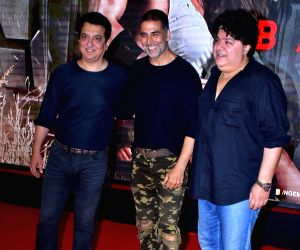 "Filmmaker Sajid Nadiadwala, actor Akshay Kumar and Sajid Khan during the special screening of film ""Baaghi 2"" on March 29, 2018."