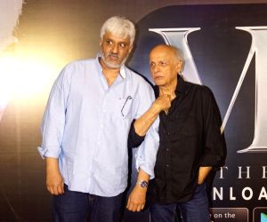 Filmmaker Vikram Bhatt with Mahesh Bhatt during the launch of his OTT platform VB Theatre on the Web; in Mumbai on Feb 14, 2018.