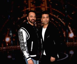 Rohit Shetty, Karan Johar, Sidharth Malhotra on the sets of