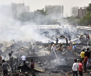 Fire breaks out at a slum near Sector 49