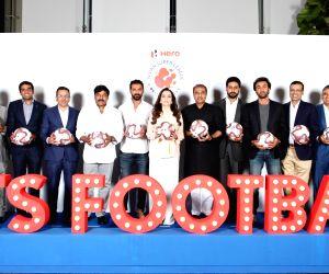 Football Sports Development Limited (FSDL) and Reliance Foundation chairperson Nita Ambani, AIFF President Praful Patel, FC Goa President Akshay Tandon, Hyderabad FC Owner Vijay Madduri, ...