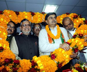 Sushil Kumar Modi with R K Singh at BJP office