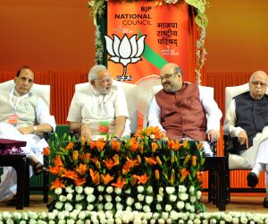 Newly appointed BJP President Amit Shah during the BJP National Council meeting