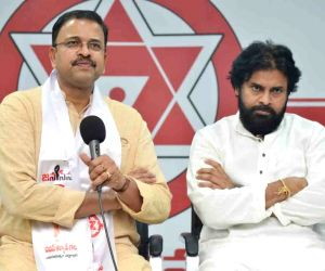 Former CBI Joint Director V.V. Lakshminarayana joins actor Pawan Kalyan's Jana Sena in Amaravati on March 17, 2019.