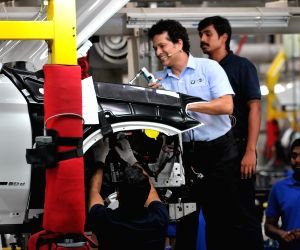 Former cricketer and BMW brand ambassador Sachin Tendulkar during his visit to a BMW plant in Tamil Nadu's Chengalpattu on March 29, 2018.