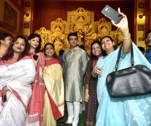 Former cricketer and Cricket Association of Bengal President Sourav Ganguly at a Durga Puja pandal in Kolkata on Oct 6, 2019.