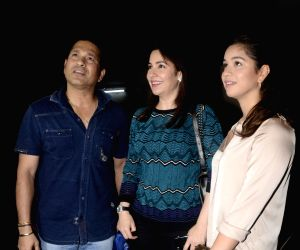 "Former cricketer Sachin Tendulkar along with his wife Anjali Tendulkar and daughter Sara Tendulkar during the special screening of film ""Lucknow Central"" in Mumbai on Sept 10, 2017."