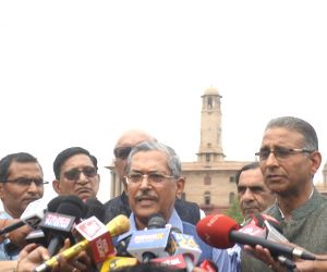 Former Delhi Police Commissioner R.S. Gupta talks to media persons after submitting a memorandum to President Ram Nath Kovind regarding the Election Commission of India's Model Code of ...