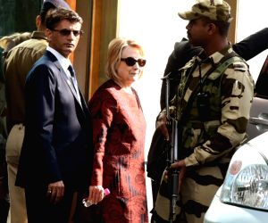 Former First Lady and former US Secretary of State Hillary Clinton, arrives to attend the pre-wedding functions of Isha Ambani and Anand Piramal in Udaipur, Rajasthan on Dec 8, 2018.