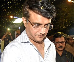Former India cricketer Sourav Ganguly, who is all set to become the president of the Board of Control for Cricket in India (BCCI) attends a felicitation function organised by the Cricket ...