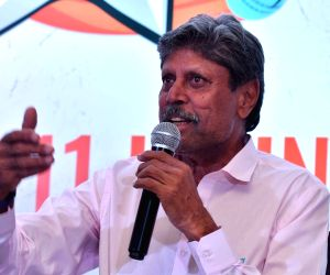Former Indian cricketer Kapil Dev addresses at the launch of 'Apne 11' - a daily fantasy sports platform, in New Delhi on June 12, 2019.
