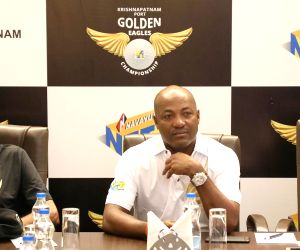 Former Indian Cricketer Kapil Dev, Former West Indies Cricketer Brian Lara and Navayuga Container Terminal Director Vinita Venkatesh at a press conference on 4th edition of Krishnapatnam ...