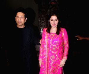 Former Indian cricketer Sachin Tendulkar along with his wife Anjali Tendulkar attend cricketer Zaheer Khan and actress Sagarika Ghatge's post wedding party in Mumbai on Nov 23, 2017.