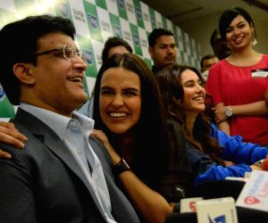 Sourav Ganguly, Neha Dhupia at a promotional event