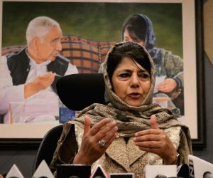 Former Jammu and Kashmir Chief Minister and Peoples Democratic Party (PDP) President Mehbooba Mufti addresses a press conference in Srinagar, on May 4, 2019.
