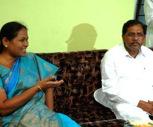 Former Minister and KJP Leader Shoba Karandlaje addressing media