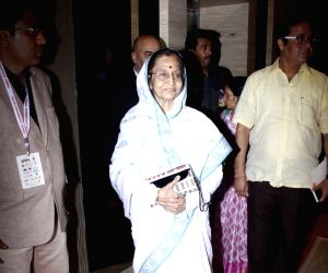 Former President of India Pratibha Patil arrives to attend the 4th edition Lokmat Maharashtrian of The Year 2017 in Mumbai on April 11, 2017.