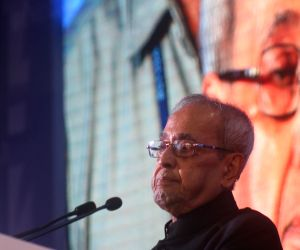 "Former President Pranab Mukherjee addresses at the launch of ""Neta app"", in New Delhi, on Aug 24, 2018."