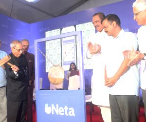 "Former President Pranab Mukherjee, Delhi Chief Minister Arvind Kejriwal, BJP leader Vijay Sampla, Congress leaders Shivraj Patil and Ashwani Kumar at the launch of ""Neta app"", in ..."