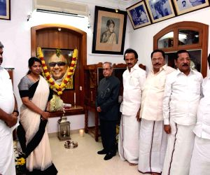 Former President Pranab Mukherjee pays tribute to M. Karunanidhi, who passed away on 7th August in Chennai on Sept 6, 2018. Also seen Karunanidhi's sons M. K. Alagiri and M.K. Stalin and ...