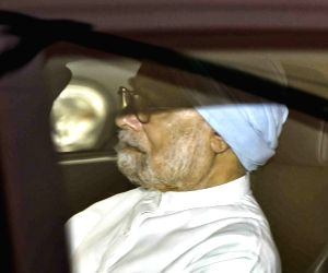 Former Prime Minister Manmohan Singh arrives at AIIMS to visit former Prime Minister Atal Bihari Vajpayee who is undergoing treatment for urinary tract infection at the hospital in New ...