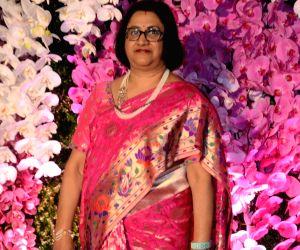 Former State Bank of India (SBI) Chairman Arundhati Bhattacharya at the wedding reception of Akash Ambani and Shloka Mehta in Mumbai, on March 10, 2019.